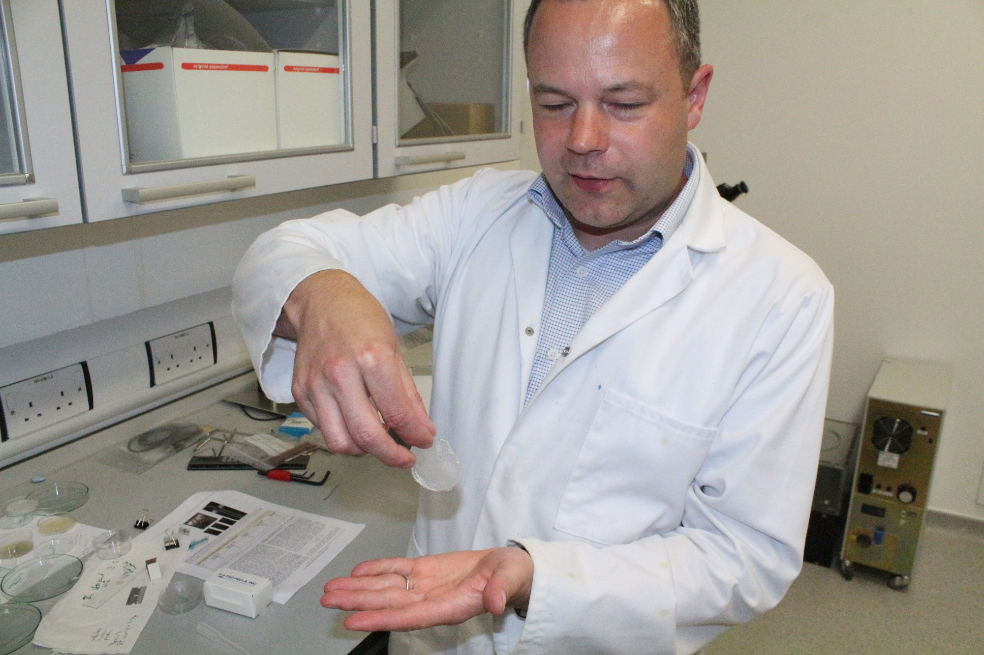 Professor James Elliott with a naturally occurring polymer