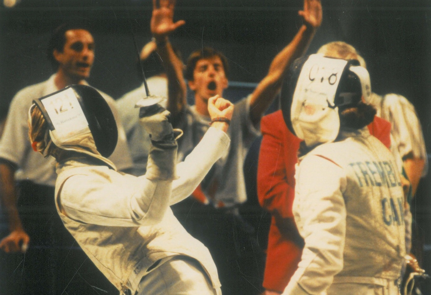 Fiona McIntosh fencing at the Barcelona 1992 Olympics