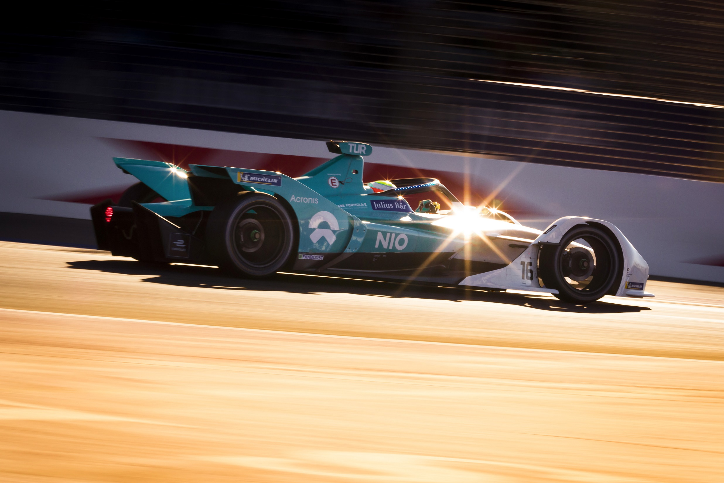 Oliver Turvey racing in Formula E in Morocco
