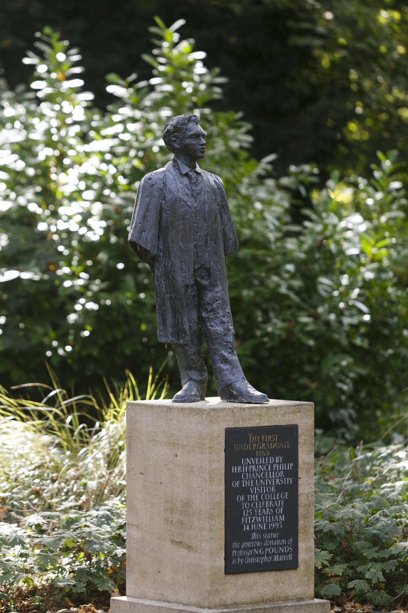 First Undergraduate statue, Fitzwilliam College, Cambridge