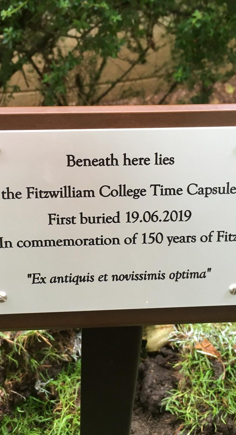 The Fitzwilliam time capsule location is marked by a plaque