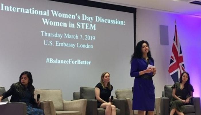 Shamma Mustapha (Engineering 1991) speaking at a women in STEM event
