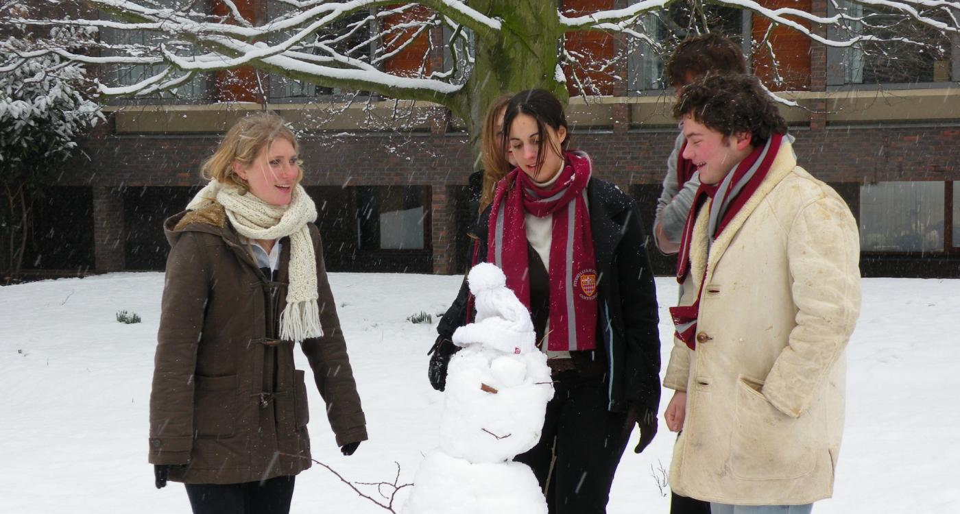 students with snowman