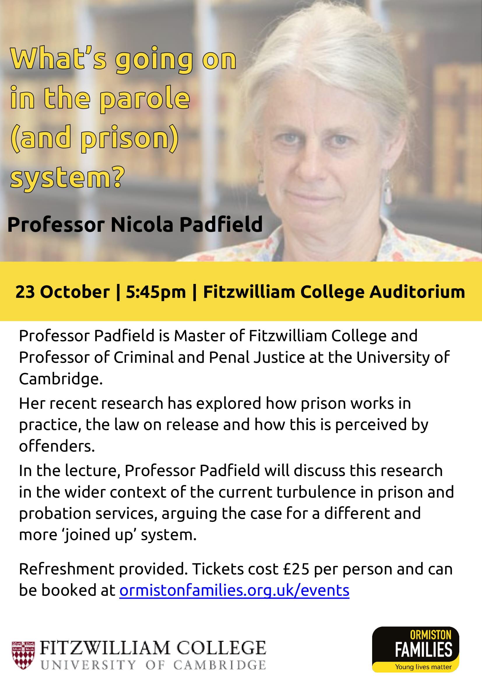 Ormiston Families Annual Lecture, Fitzwilliam College, Cambridge