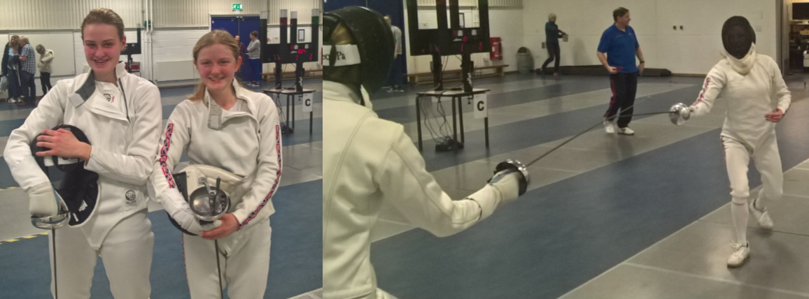 Student Alice Watson with her fencing partner