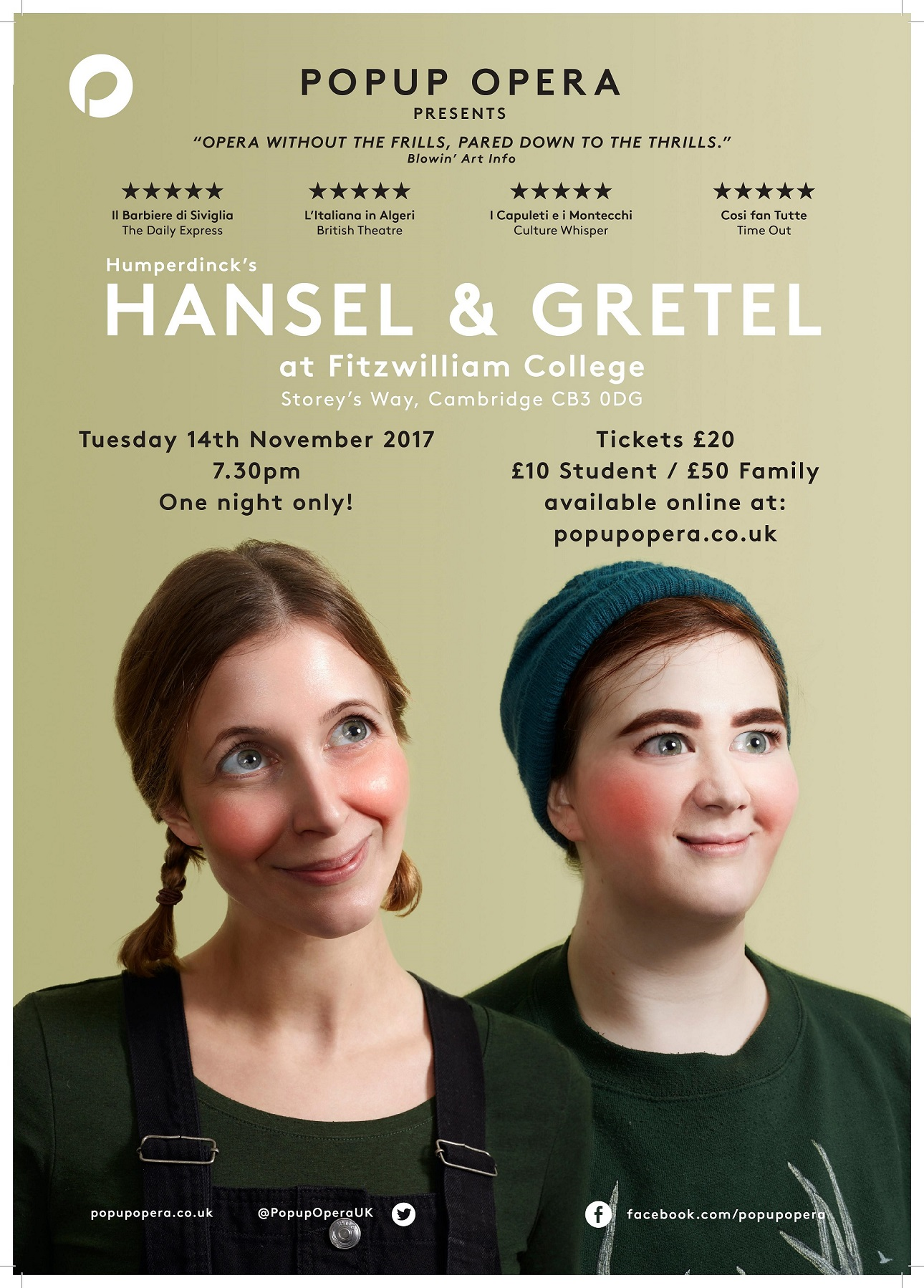 PopUp Opera: Hansel and Gretel, Fitzwilliam College, Cambridge November 2017