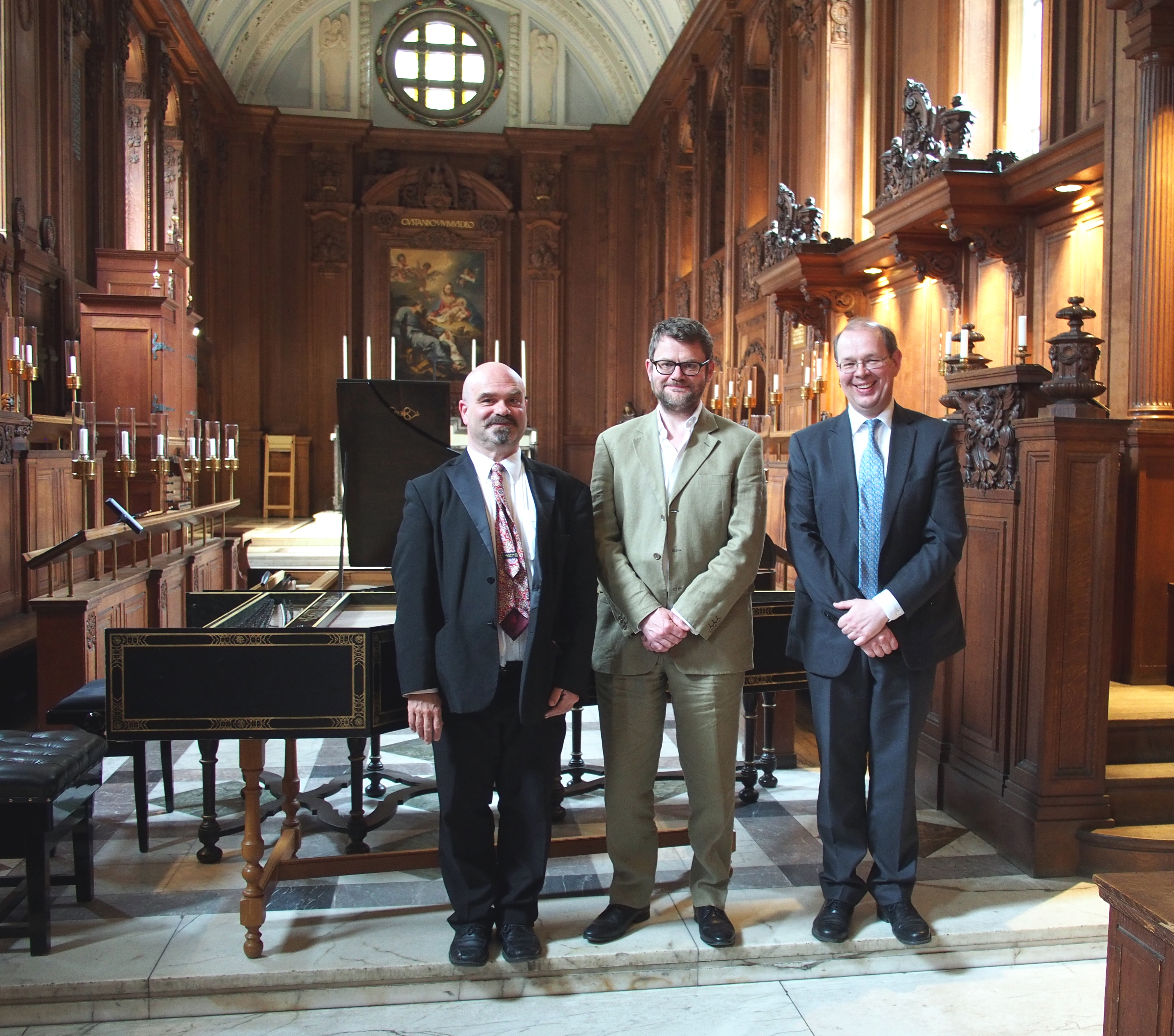 Francis Knights, Music Fellow at Fitzwilliam College, pictured right, with the other two organisers of the festival