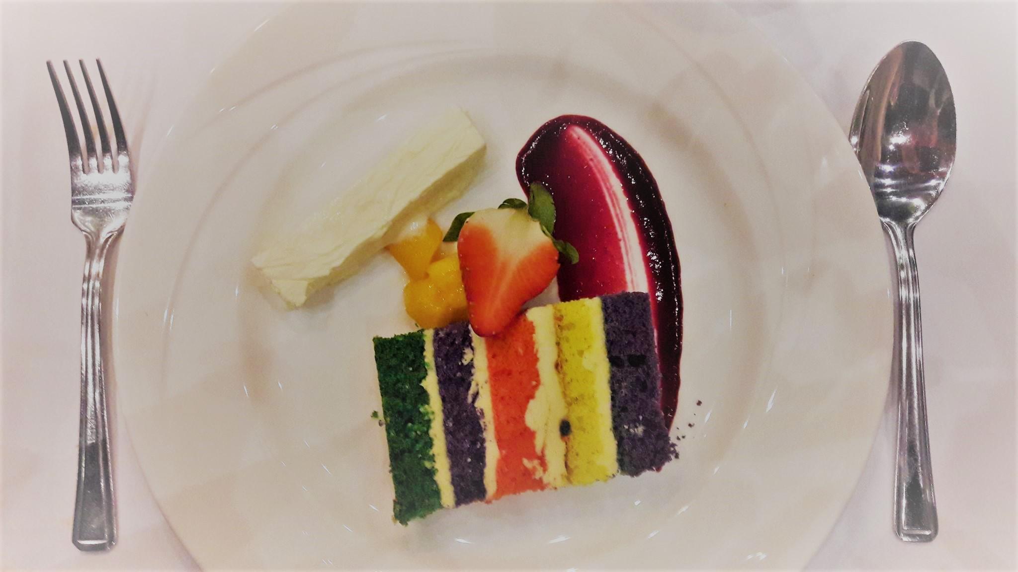Rainbow cake at Fitzwilliam College special LBGT+ formal