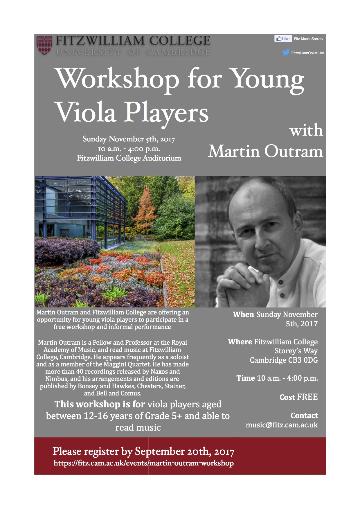Viola Workshop at Fitzwilliam College, Cambridge - November 2017