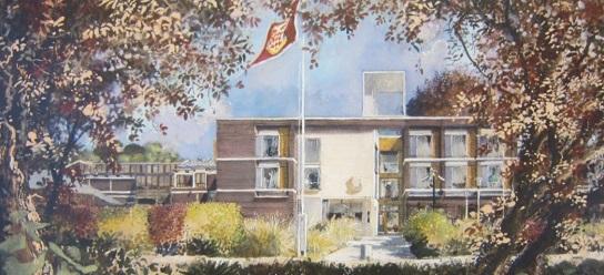 Watercolour of Gatehouse, Fitzwilliam College, Cambridge