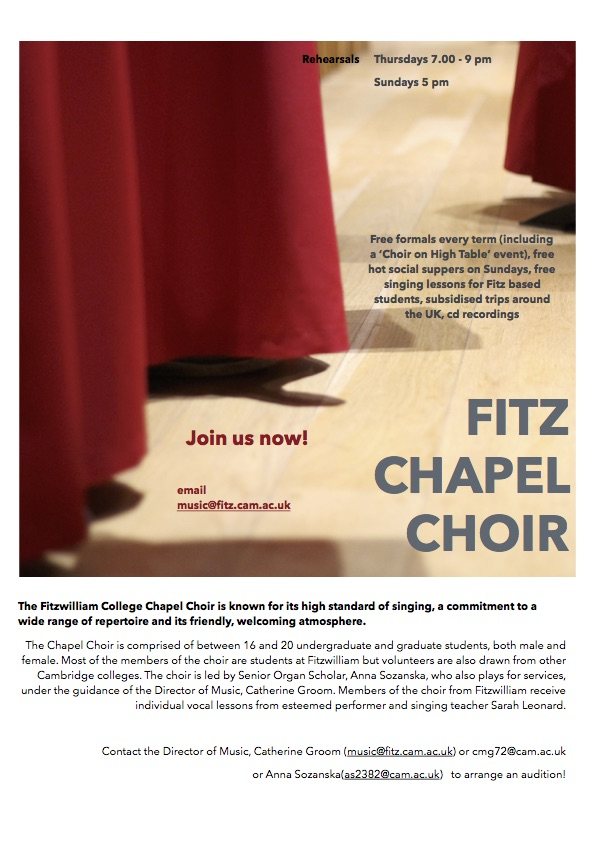 Join the Fitzwilliam College Chapel Choir