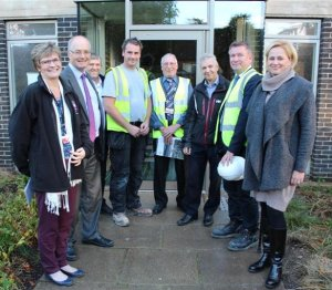 Bursar, staff and contractors at the handover of A Staircase