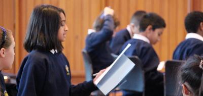 Girl giving debate speech